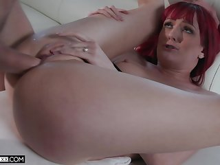 Redhead loads pussy with unnumbered angry cock