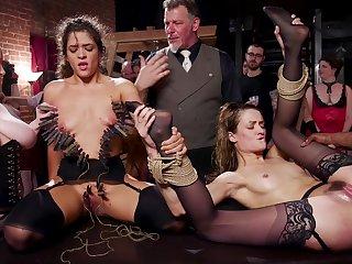 Both sluts receive a hot load of cum after intensive gangbang