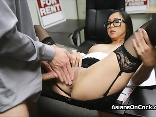 Asian cutie does a lot of extra on job stick
