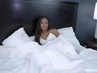 Ebony cutie sucks a broad in the beam black cock while talking atop her phone