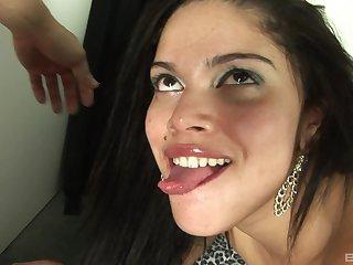 Sexy brunette wants wide swallow jizz and fuck hard