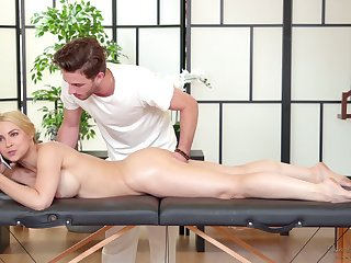 Sexy business skirt Sarah Vandella is relaxing less handsome kneading boy