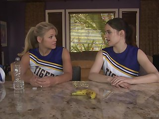 Cheerleaders Scarlet Red and Jenna J Ross honour pussy more than dick