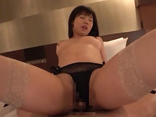 Asian in coal-black lingerie, full pussy and creampie