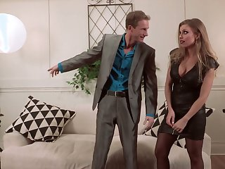 Vulgar busty Britney Amber uses her sexy melons for awesome titjob