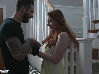 Ginger girl Arietta Adams gives her head and gets fucked in different positions