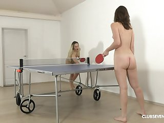 Pretty ping-pong players disrobe after the game for girl-on-girl divertissement