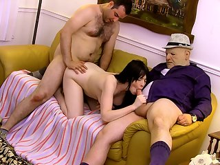 Teenage fucked in both holes by two older forebears Public