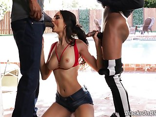 Super sexy Pool girl Eliza Ibarra is fucked and jizzed by two black guys
