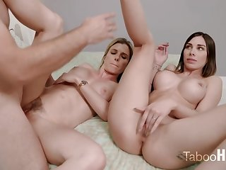 Crazy mom and her sluty step- daughter-in-law had a 3some with 1 of be passed on fresh neighbors