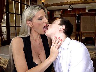 Cougar stepmom Conchita makes virgin stepson a sponger