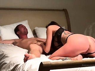 Hot big tit brunette gives hardcore blowjob at party