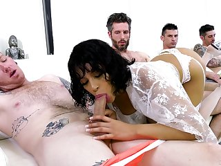 Transcribe trouble for the sleazy Latina in gang bang action