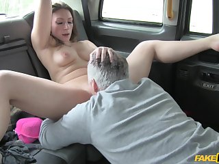 Ava Austen licks cabbie's ass and allows him to fuck her permanent