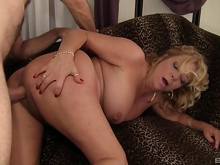 Hot grown-up gets stimulated by a man's huge dong