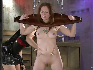 X-rated slave girl headed up and torturous by a dominant blonde chick
