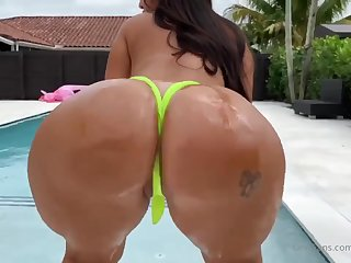 Maria Gjieli - big ass Latina with silicone special blowing cock outdoors by the pool - POV hardcore
