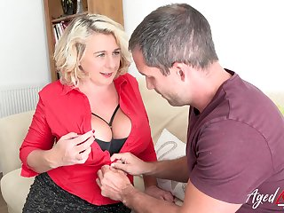 Busty blonde british mature with huge natural tits enjoying hard imprecise sex with handy stud