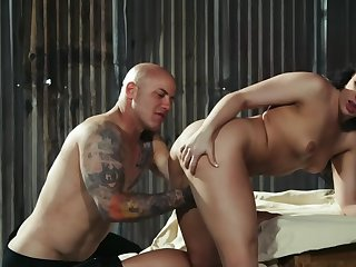 Muscled bald clothes-horse is destroying hot brunette's pussy