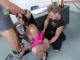 Busty nerdy MILF in sexy stuff Kendra Lust is hammered by two studs