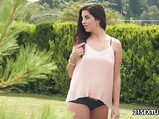 Naughty and shameless hottie Felonious Cerna gets unembellished outdoors and goes solo