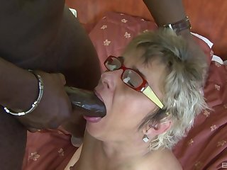 Horny mature wife Jessey drops her panties for interracial anal