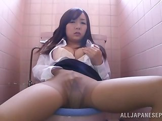 Spy cam catches naughty Chika Haruno identity card her cunt in along to bathroom