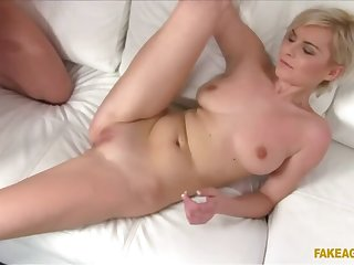 Agent Lands Short Haired Blondie A Role On His Fat Cock