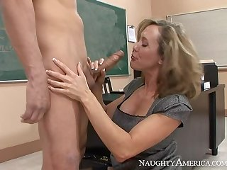Caucasian Brandi Love fucking in the lecture-room with her tits