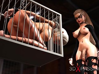 Hot sex! 3d dickgirl bangs a sexy girl concomitant in a catch donjon