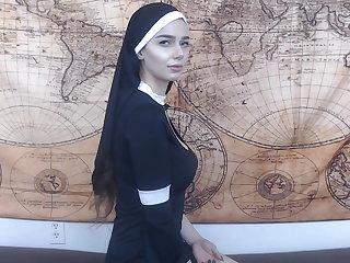 Hypnotized nun gets anal creampie