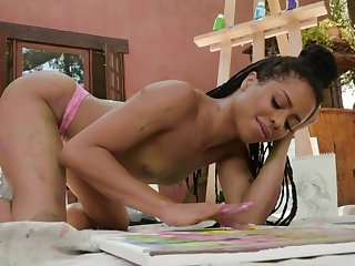 Elvish artist covered with paint Kira Noir is ready be useful to ID herself