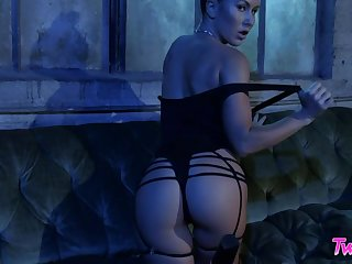 Spreading legs wide this hoe with nice rounded ass works on the brush slit