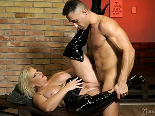 Kinky MILF Anna Valentina wearing latex gets fucked roughly